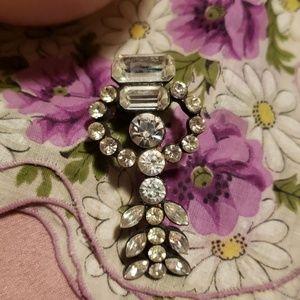 Vintage Japanned crystal stone brooch